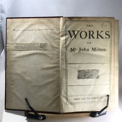 1697 1st Collected Edition-the Works Of Mr. John Milton-later Victorian Binding