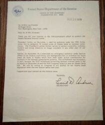 Cecil D. Andrus Autograph -1978 Signed Official Secretary Of The Interior Letter