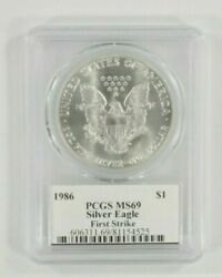 1986 1 Silver American Eagle Graded By Pcgs As Ms69 First Strike Mercanti Sign