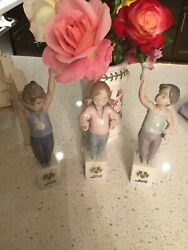 3-lladro Special Olympic Figurines Special Olympic Sign 7513-7514-7515 Msrp625.