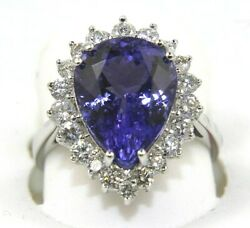 Natural Pear Shape Tanzanite And Diamond Halo Solitaire Ring 14k White Gold 7.04ct