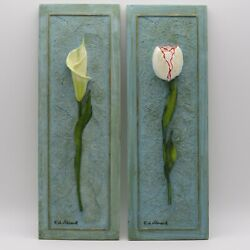 Two Raised Flower Wall Plaques Tulip And Iris By French Artist F. De Villeneuve