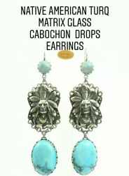 Askew London Native American - Howlite Cabochon And Silver Finish Drop Earrings