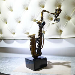 Abstract Male Musician Saxophone Bronze Painted Art Deco Sculpture A02