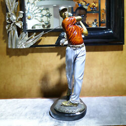 Western Bronze Painted Men Play Golfer Sports Competition Art Deco Sculpture