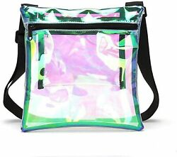 Iridescence Clear Crossbody Purse Bag Stadium Approved with Extra Inside Pocket $13.49