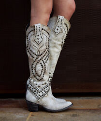 L 903-32 Rf Old Gringo Belinda Relaxed Fit Crackled White Milk Tall 18 Boots