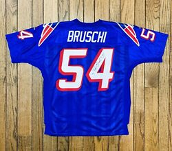 Tedy Bruschi New England Patriots Nfl Blue Vintage 90's Adidas Jersey 50 Signed