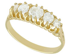 Antique 0.95ct, G Color Diamond And 18k Yellow Gold Five Stone Ring - Size 8