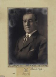 Woodrow Wilson - Inscribed Photograph Mount Signed 04/06/1917