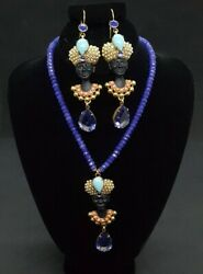 Rare Askew London Signed Blackamoor Queen Figural Necklace And Earrings Set.