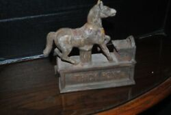 Antique 1940s Reproduction Mechanical Cast Iron Trick Pony Coin Bank
