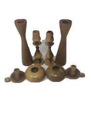 8 Vintage Wooden Candle Sticks Myrtlewood Candle Holders Ralph A Bailey Nice Euc