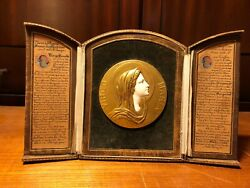Antique 18th Authentic France Relic Triptych Maria Virgo Plate + Wwii 2 Prayer
