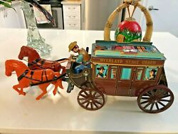 """Tin Toy Large Japan """"modern Toys"""" Overland Stage Coach Working Battery Operated"""