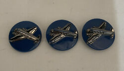 3 Rare Vintage Blue Glass Silver Airplane In Relief Buttons
