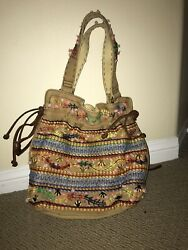 Lucky Brand Embroidered Summer Bag Italian Leather Accents