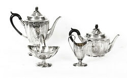 Antique Silver Plated Cased Tea Set Walker And Hall, Sheffield C 1860 19th C