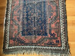 Antique Hand Woven Oriental Persian Style Rug Warm Red And Orange Tones 34 X 55
