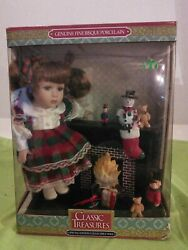 Classic Treasures Genuine Bisque Porcelain Doll Collectible Christmas Fireplace