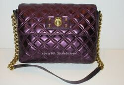 Marc Jacobs Large Single Quilted Leather Chained Handbag Purse Metallic Purple