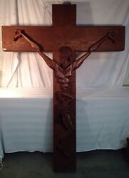 Vintage Mcm Large 6 Foot Carved Wood Crucifix With Jesus And Angled Features
