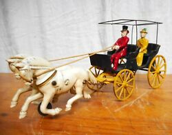 American Cast Iron Toy 2 Horse Drawn Surrey With Driver And Passenger