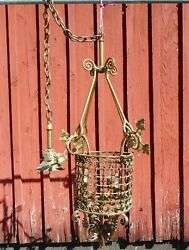 Antique Hanging Brass Hall Fixture Polished and Rewired Circa 1900