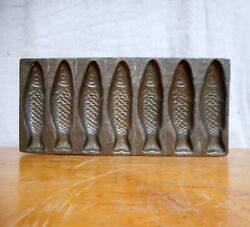 Early Antique Candy Mold Fish All Tin And Hand Made 7 Fish Molds
