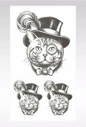 sexy body hand cat top hat temporary tattoo