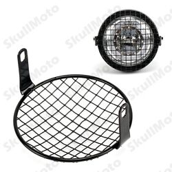 Motorcycle Metal Headlight Mesh Grill Square Mask Protector Guard Mount Cover