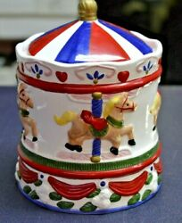 Vintage Red White And Blue Carousel Cookie Jar 10