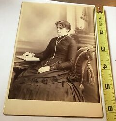 Cabinet Card Seated Woman Beautiful Dress Trimmed W Silk Rosettes Tight Corset