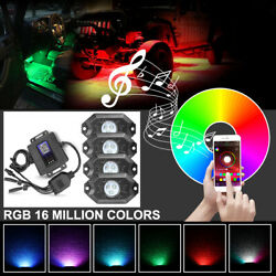 4-pods Rgb Led Rock Light Bluetooth Music Offroad Truck Neon Chasing Multi-color