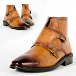 Newstylish Mens Double Monk Strap Wood Tone Leather Ankle Boots