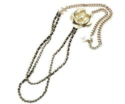 Brand New Gold Chain Long Necklace + Removable Gold Flower Brooch Set