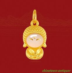 999 24k Gold 3d Inlay Jade Cute Monk Buddha Pendant W 24k Gold Necklaces 2102