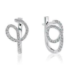 3ct Natural Unique Twisted Diamond Earrings,g/si1 14k White Gold,wedding