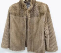 LUXORY REAL MINK FUR WOMENS GENIUNE GOLDEN BROWN COAT JACKET Medium SIZE