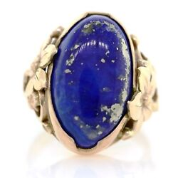 14k Gold Arts And Crafts Gilbert Oakes Lapis Lazuli Floral Swirl Scroll Ring 6 Vtg