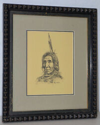 Ray Swanson 1937-2004 Native American Original Pen And Ink C.1960s
