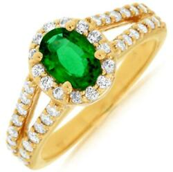 Estate 1.45ct Diamond And Aaa Emerald 14k Yellow Gold Oval And Round Friendship Ring