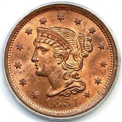1851 N-2 Pcgs Ms 64 Rd Cac Braided Hair Large Cent Coin 1c