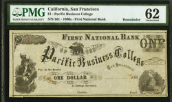 1 San Francisco Pacific Business College Currency Pmg 62 Remainder Note P-158