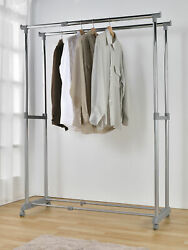 Double Garment Rack Adjustable Heavy Duty Rolling Clothes Rail Hanging Stand USA