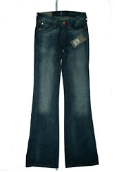 7 For All Mankind Kaylie Ladies Bootcut Stretch Jeans Rivets Pants W25 L34 Blue