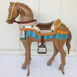 Vintage Carousel Horse Carnival Ride Merry Go Round Painted Metal Accents Rare