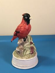 Vtg 1985 Mann Red Cardinal Music Box Porcelian Plays Theme From The God Father