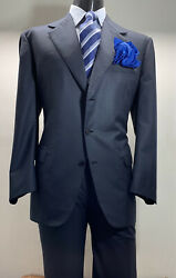 Recent Bespoke Brioni Wool Blue Striped Men's Suit 46 R Made In Italy Vented