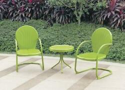 Green Metal Vintage Retro Bistro Set Chairs Side Table Outdoor Furniture